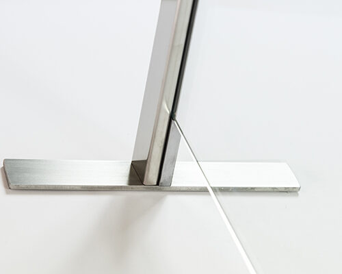 Tecnoprofile Esperion separé for breath divider with EDA paper pass clear glass satin steel internal foot detail